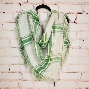 Double Face Plaid and Stripe Oversize Scarf
